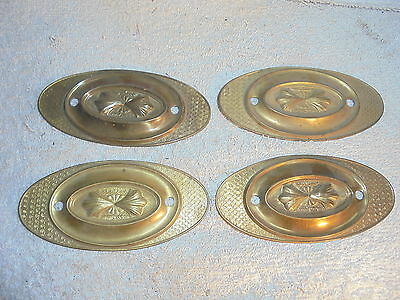 Antique vintage Victorian brass drawer pull back plates lot of 4 #F6