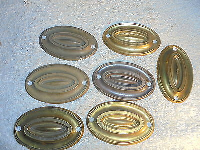 Antique vintage Victorian brass drawer pull back plates lot of 7 #K11