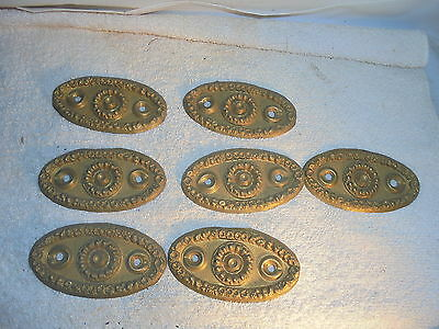 Antique vintage Victorian brass drawer pull back plates lot of 7 #A1