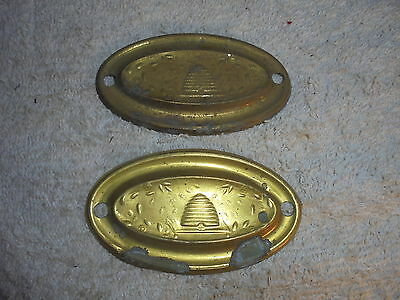 Antique vintage Victorian brass drawer pull back plates lot of 2 #G7 bee hive