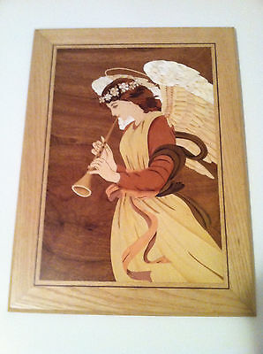 Marquetry Original Wood Inlay of Angel with Horn, wall hanging, picture