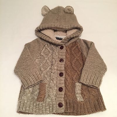 NEXT brown cable knit wool blend cardigan jacket Baby boys clothes 12-18 Months