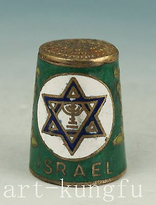 Delicate Chinese Old Cloisonne Israel Palestine thimble Decoration