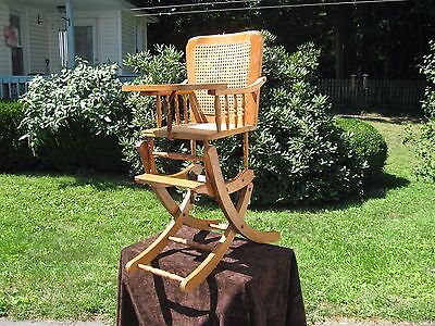 Vintage Cane Back and Seat Baby High Chair / Rocking Chair Beautiful Wood