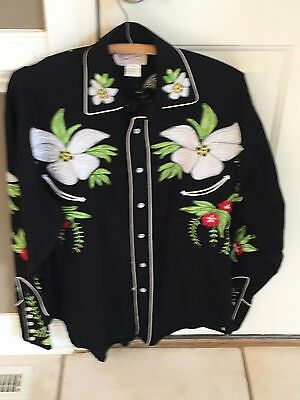 Vintage style western embroidred floral Christmas shirt by Rockmount Ranchwear