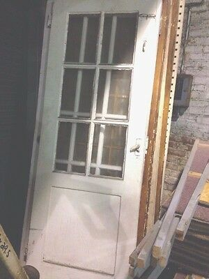 6 Pane Antique Door With Panel Wood Wooden Architectural Salvage Glass Old