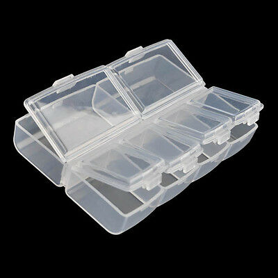 Clear Plastic Compartments Box Nail Art Storage Container Transparent Case