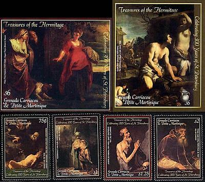 Grenada-Gren. 2003 Hermitage Paintings + 2 S/s Mnh Rubens, Rembrandt, Titian