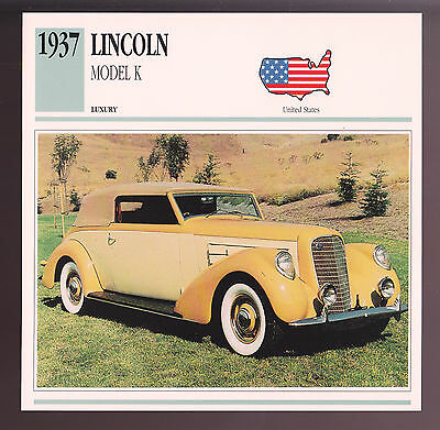 1937 Lincoln Model K Convertible Victoria Brunn Car Photo Spec Sheet Stat CARD