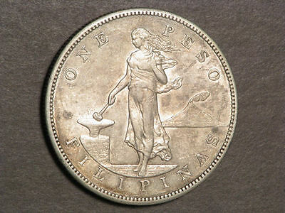PHILIPPINES 1903S 1 Peso Silver Crown XF-AU