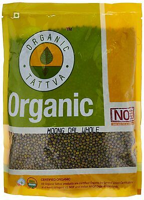 Organic Tattva Mung Beans, Green Gram Whole, 1kg Certified By USDA
