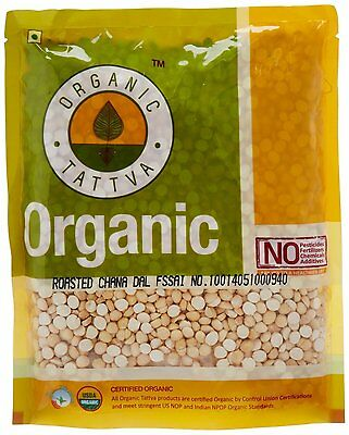 Organic Tattva Roasted Bengal gram (Chana Dal),  500g USDA Certified