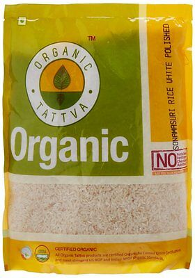 Organic Tattva Sonamasuri Rice White Polished Chawal, 1kg USDA Organic Certified