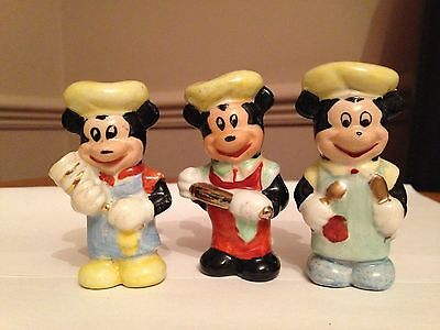 """Vintage Mickey Mouse Porcelain Figures 1950's vintage, Set of 3, 3"""" in Height"""