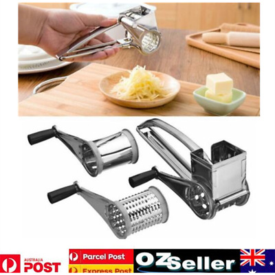 Kitchen Craft Stainless Steel Rotary Cheese Grater Vegetable Shredder 3 Drum Set