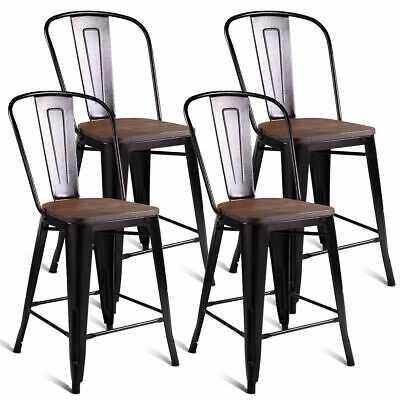 Copper Set of 4 Metal Wood Counter Stool Kitchen Dining Bar Chairs Rustic New