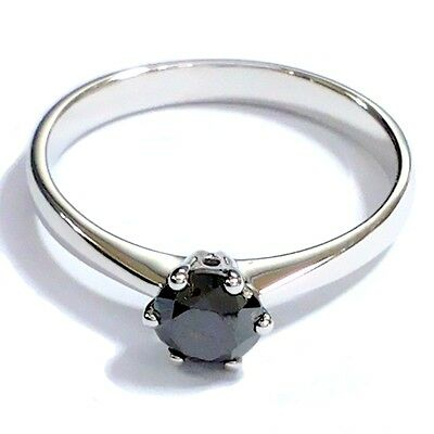 0.50Ct Black Round Diamond Six Claw Solitaire Engagement Ring in White Gold.