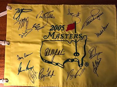2005 MASTERS FLAG SIGNED & autographed by 14 Masters Champions