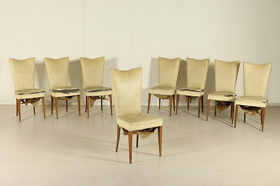 Six Chairs Springs Padding Leatherette Upholstery Vintage Italy 1940