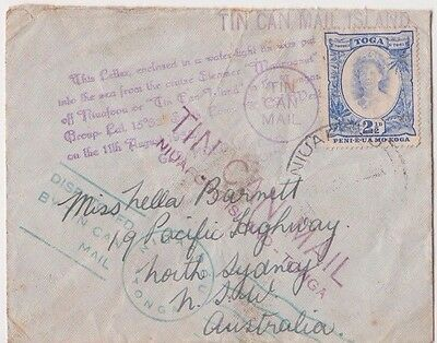 Stamp 2&1/2d blue Tonga on 1938 tin can outwards cover to Australia cachets