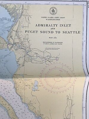 1945 U.S. Coast Geodetic Survey Map Admiralty Inlet & Puget Sound to Seattle WA