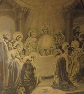 Beautiful Vintage French  Religious  Framed  Picture / Print Dated  1945 ~
