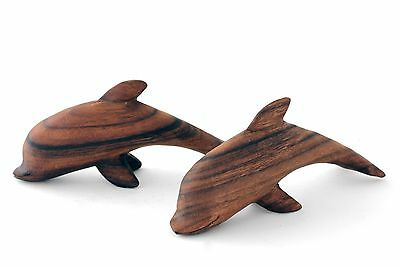 """Wooden Pair of 8"""" Dolphin Ornaments,  Hand Carved Acacia Wood Oil wax finish"""