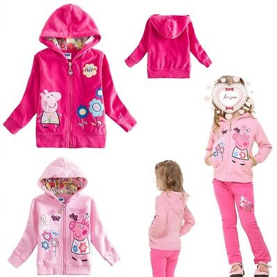 New Kid Toddler Girl Peppa Pig Jacket Coat Zip Hoodie Jumper Top Outwear Clothes