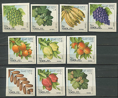 Yemen 1967 Fruits  10v IMPERF MNH