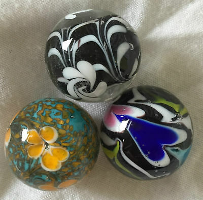 NEW SET OF 3 CELESTIAL 22mm HANDMADE GLASS MARBLES TRADITIONAL COLLECTOR HOM