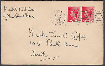 1936 KEVIII 1d scarlet Pair FDC; Hull / Yorks M/C