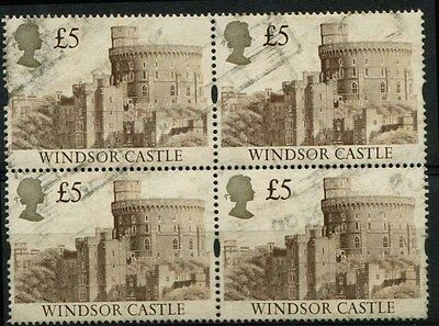 GB 1992 £5.00 Castle SG 1614 used block of 4