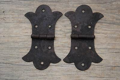 """VINTAGE Iron French Gothic TOOL BOX TRUNK CHEST JEWELERY BOX HINGES Barn 3.6"""""""