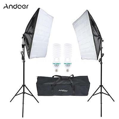Photography Studio Umbrella Softbox Video Light Kit Lighting Tripod Set UK E7K2
