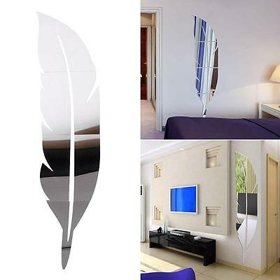 Hot 3D Mirror Feather Wall Vinyl Decals Stickers DIY Decor Mural Removable
