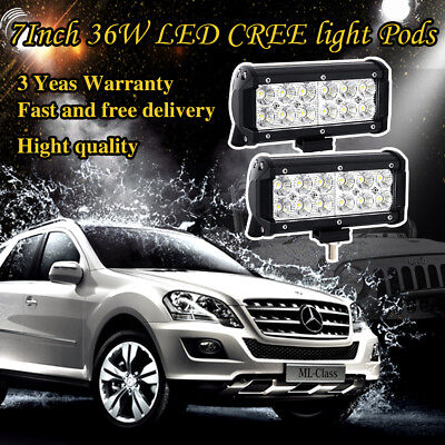2X 7inch 36W CREE Led  Work Light Bar Driving Fog Offroad Jeep Truck SUV ATV 4WD