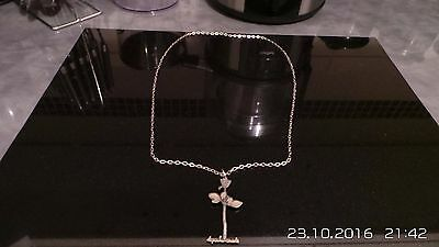 Silver  Depeche Mode Chain and Rose Pandant