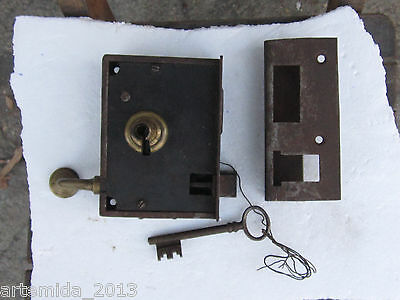 "Antique Iron DOOR KNOB SET & Mortise Lock Key ""G.P."" Bronze Elements"