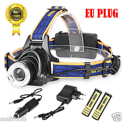 LED Cree Stirnlampe Kopflampe 6000LM XM-L T6 Headlight Torch 2x Power Akku Set