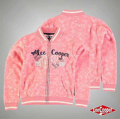 Junior Girls Lee Cooper Stylish Textured AOP Baseball Zip Sweater Size Age 7-13