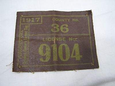 Antique 1917 PA Cloth/Canvas Hunting License County #36 Lancaster Kalbfus
