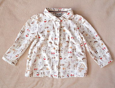 Next Christmas Animal Print Shirt 12-18months Worn Once White Cream Blouse Xmas
