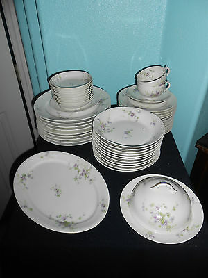 Haviland Limoges Fine China -51 Pieces- Lilac Violet Floral Pattern  On White Gr