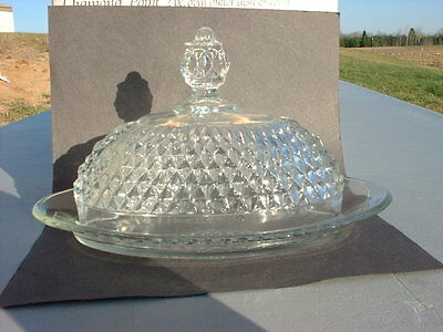 Indiana Glass Diamond Point Oval Butter Dish & Cover