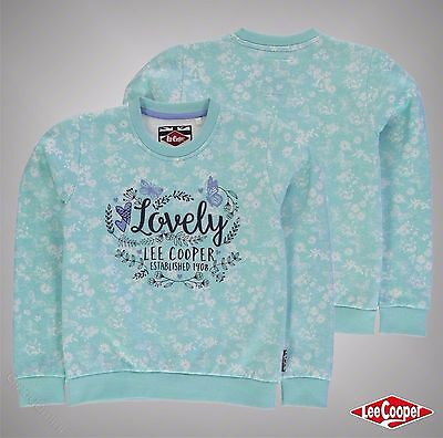Junior Girls Lee Cooper Large Textured Graphic Print Crew Sweater Size Age 7-13