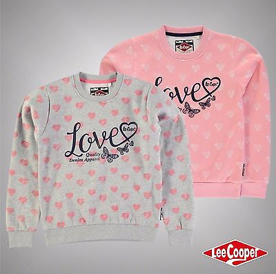 New Junior Girls Lee Cooper Textured Hearts Print Crew Sweater Top Size Age 7-13