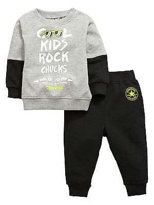 Converse Baby Boys 2 Piece Creeper Sweat & Joggers Set Grey & Black