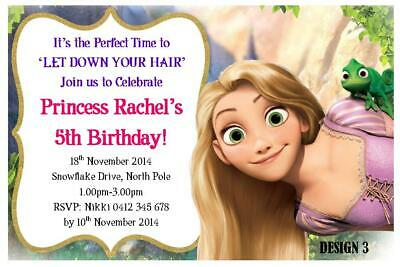 20 X RAPUNZEL GIRLS CHILDRENS BIRTHDAY PERSONALISED INVITATIONS FREE MAGNETS
