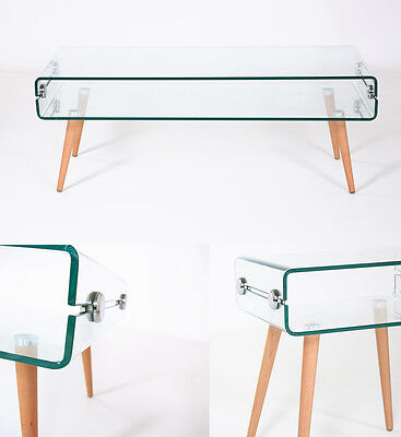 Modern Curved Clear Glass Coffee Table Bent Side Board Wooden Legs Retro Shelf