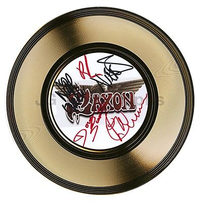 """Saxon - British Heavy Metal Band - Autographed 7"""" Gold Record - Signed by 5"""